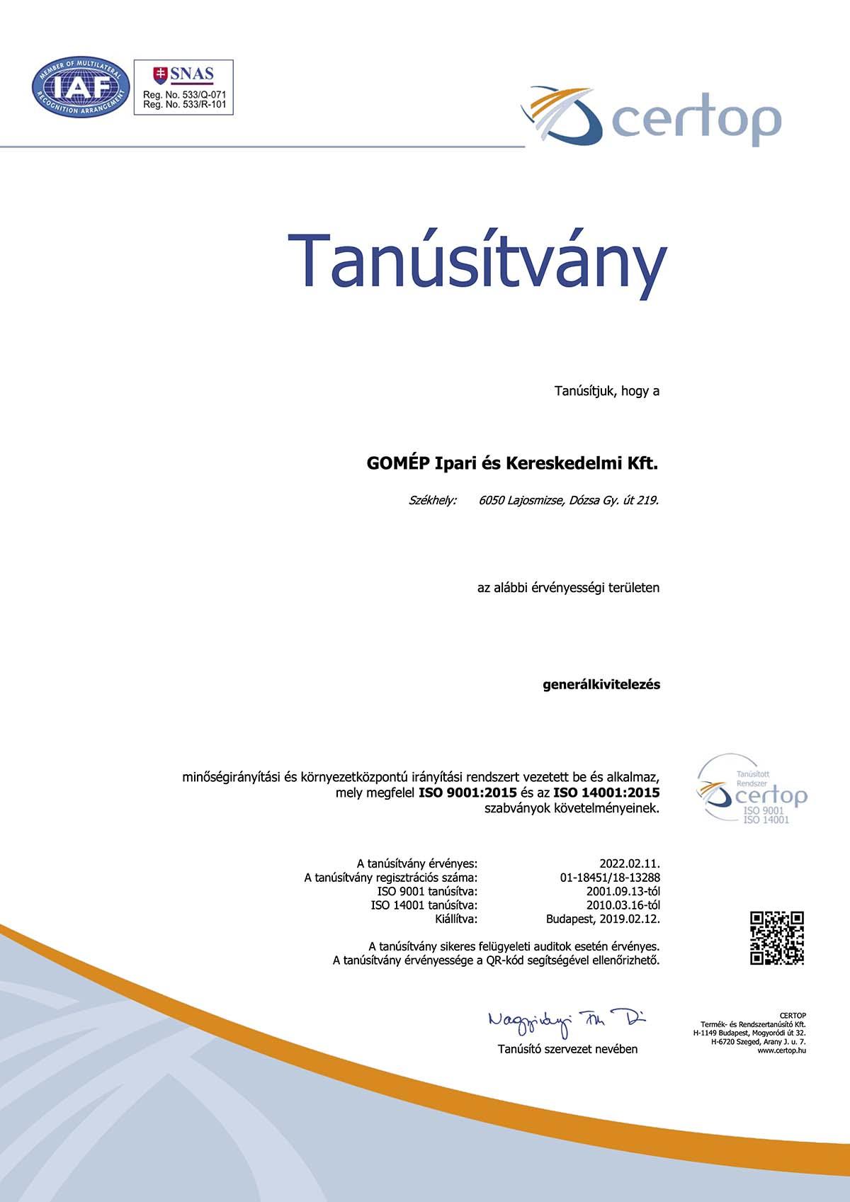 tanúsítvány HU18451-18 MIR_KIR magyar